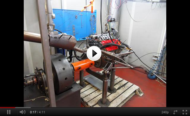 video motore su banco prova